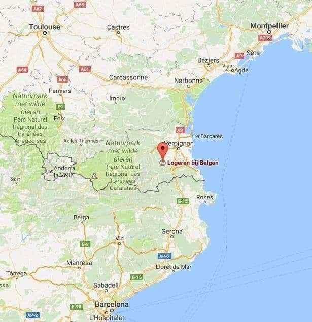 zuid frankrijk spanje pyreneeën montpellier toulouse barcelona andorra kaartje
